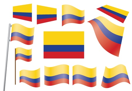 waved: set of flags of Colombia vector illustration Illustration