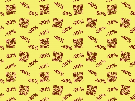 yellow seamless pattern with QR code sale Vector