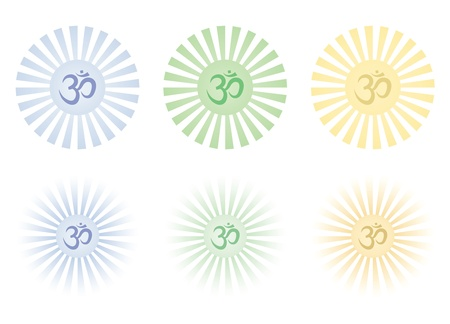 set of shining Om signs Stock Vector - 15758556