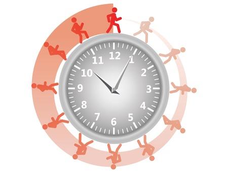 gestion del tiempo: hombre corriendo por la ilustraci�n del reloj