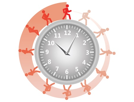 out time: man running around the clock  illustration