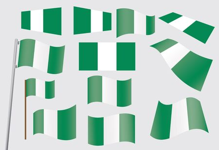 set of flags of Nigeria  illustration Stock Vector - 15802985