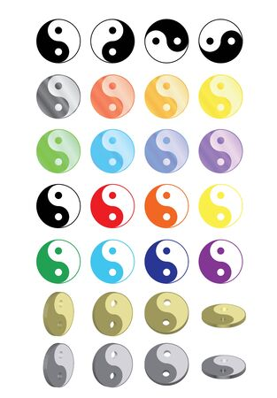 set of yin yang symbols Stock Vector - 15825487