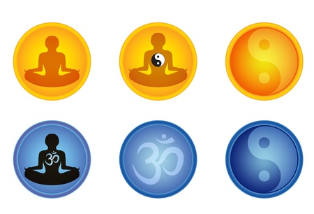 set of meditation signs with om and yin yang signs vector illustration Illustration