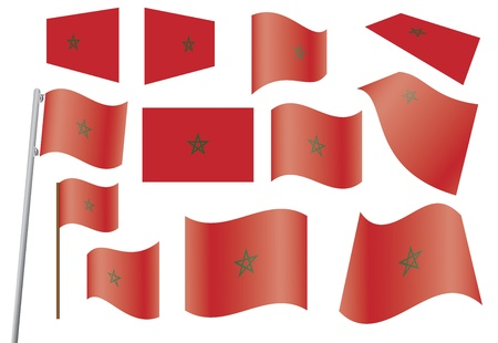 set of flags of Morocco vector illustration Stock Vector - 15882985