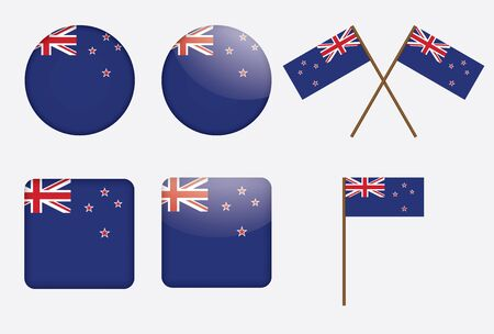 set of badges with flag of New Zealand vector illustration Vector