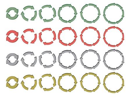 set of 3d cycling arrows