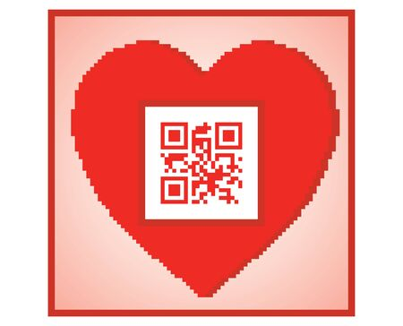postcard for Valentines Day with QR code I love you Stock Vector - 16002017