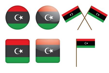 libyan: set of badges with flag of Libya illustration Illustration
