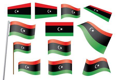 libyan: set of flags of Libya illustration