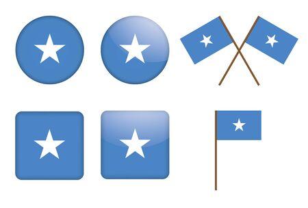 somali: set of badges with flag of Somalia  illustration