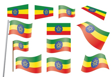 set of flags of Ethiopia  illustration Stock Vector - 16100709