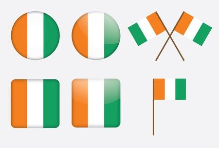 cote d ivoire: set of badges with flags of Ivory Coast  Cote dIvoire   illustration Illustration