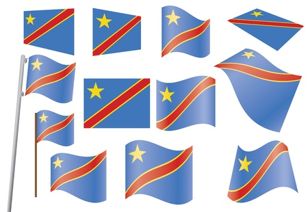 set of flags of Democratic Republic of the Congo  illustration Stock Vector - 16100798