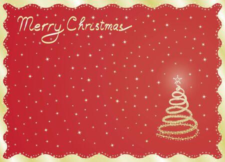 christmas postcard: red Merry Christmas postcard  illustration