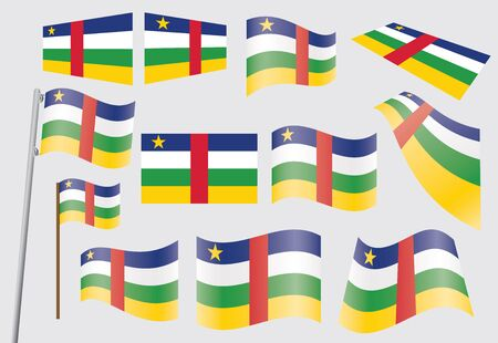 set of flags of the Central African Republic  illustration Stock Vector - 16100841