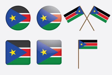 set of badges with flag of South Sudan  illustration Vector