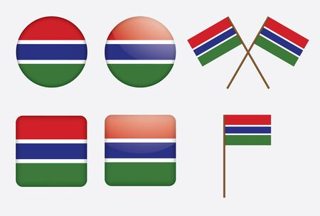 gambia: set of badges with flag of Gambia  illustration