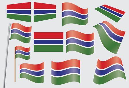 set of flags of Gambia  illustration Ilustração