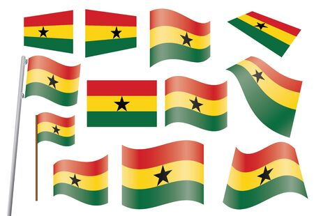 set of flags of Ghana  illustration Stock Vector - 16211275