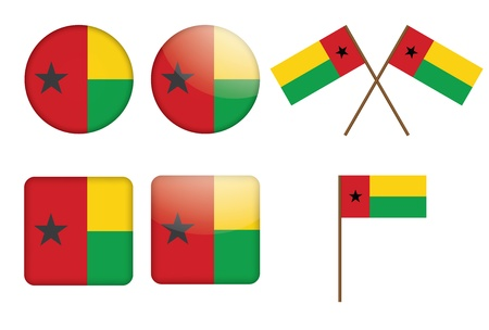 set of badges with flag of Guinea-Bissau  illustration Stock Vector - 16211295
