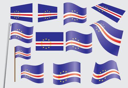 cape verde: set of flags of Cape Verde  illustration Illustration