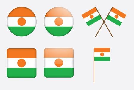 niger: set of badges with flag of Niger  illustration