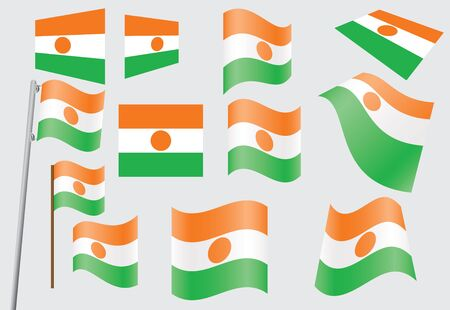 set of flags of Niger  illustration Vector