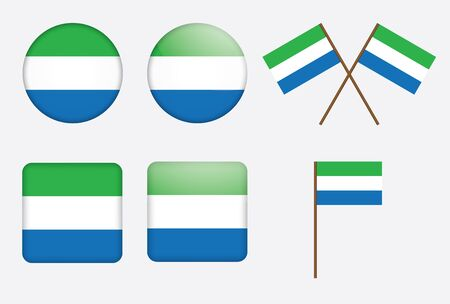 set of badges with flag of Sierra Leone  illustration Vector