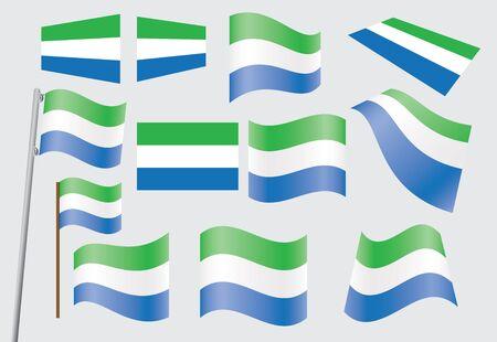 sierra: set of flags of Sierra Leone  illustration