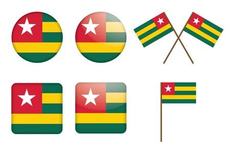 togo: set of badges with flag of Togo  illustration