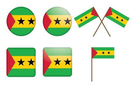 principe: juego de insignias con la bandera de Sao Tome and Principe ilustraci�n Vectores