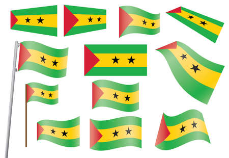 tomo: set di bandiere di Sao Tome e Principe illustrazione Vettoriali