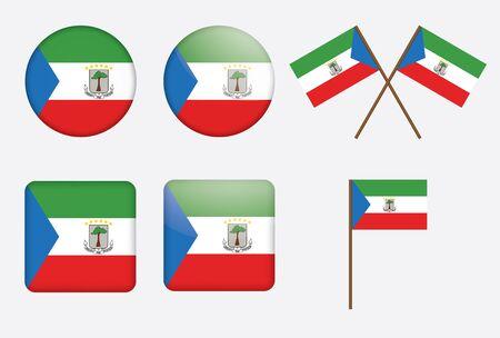guinea equatoriale: Set di badge con bandiera di illustrazione Guinea Equatoriale Vettoriali