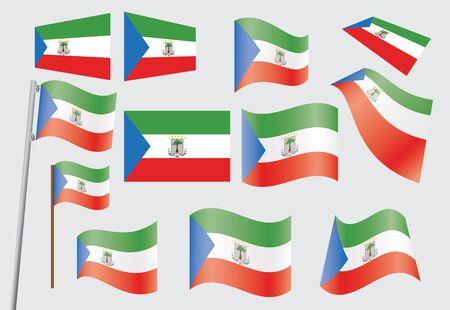 equatorial: set of flags of Equatorial Guinea  illustration