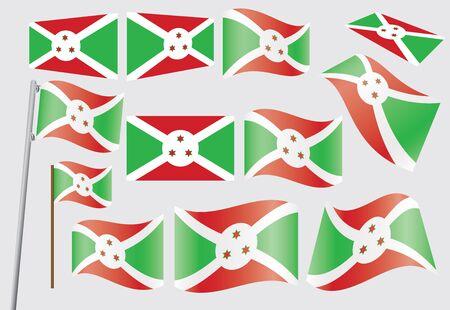 burundi: set of flags of Burundi illustration