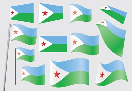 set of flags of Djibouti illustration Stock Vector - 16211392