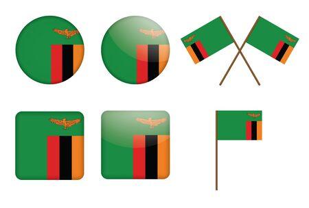zambia: set of badges with flag of Zambia  illustration Illustration