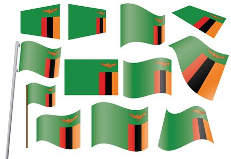 zambia: set of flags of Zambia  illustration