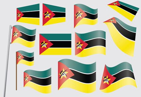 mozambique: set of flags of Mozambique  illustration