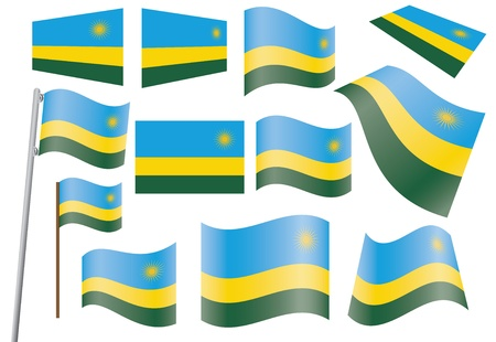 set of flags of Rwanda  illustration Stock Vector - 16281404