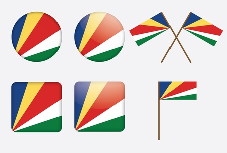 flagstaff: set of badges with flag of Seychelles  illustration Illustration