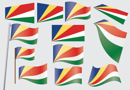 seychelles: set of flags of Seychelles  illustration