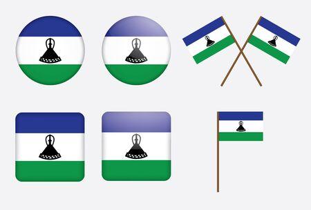 lesotho: set of badges with flag of Lesotho  illustration Illustration