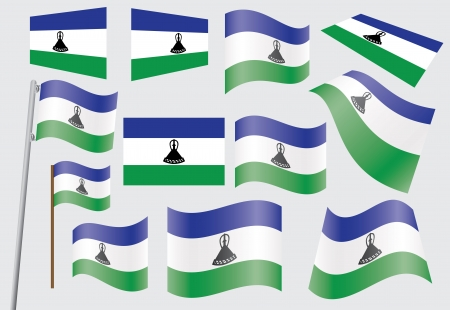 set of flags of Lesotho  illustration Stock Vector - 16281413