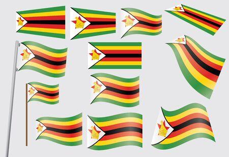 set of flags of Zimbabwe  illustration Stock Vector - 16281415
