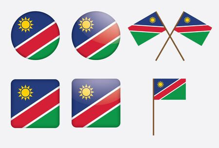 set of badges with flag of Namibia  illustration Vector