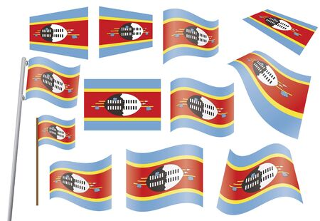 set of flags of Swaziland  illustration Stock Vector - 16281458