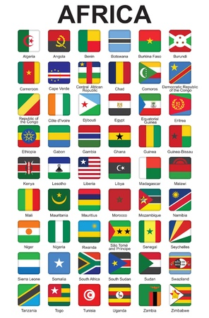 set of push buttons with African countries flags  illustration Stock Vector - 16281466