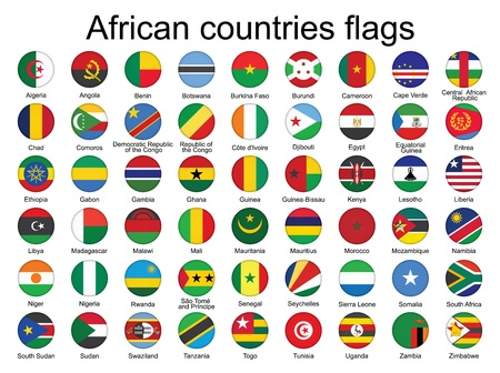 set of round buttons with flags of Africa  illustration Vector